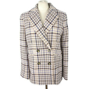 NEW-BNWT-69-M-amp-S-Size-12-Cream-Ivory-Blue-Beige-Check-Double-Breasted-Jacket