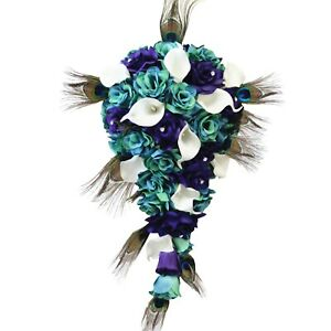 Cascade-Bouquet-Purple-Jade-Turquoise-and-Teal-Bouquet-with-Peacock-Feathers