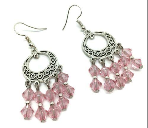 Tibetan Silver Hoop Chandelier Bicone Pink Dangle Drop 925 SS Hook Earrings