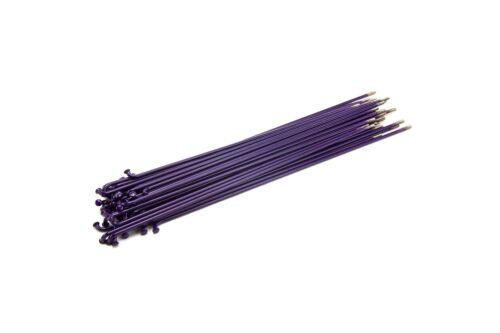 MISSION PURPLE STAINLESS STEEL SPOKES W// BLACK NIPPLES--CHOOSE YOUR SPOKE LENGTH
