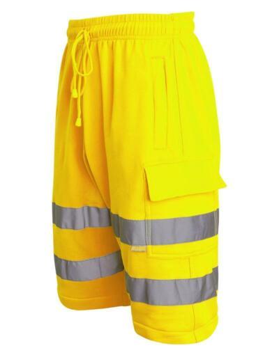 Da Uomo Hi Viz Vis visibilità Tasca Combat Abbigliamento Da Lavoro Stile Cargo Pantaloncini