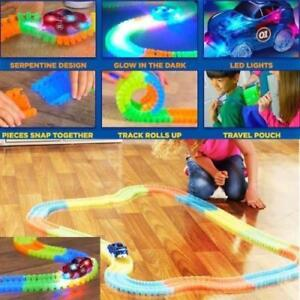 Magic-Tracks-Glowing-Race-In-Dark-With-Light-Up-LED-Bend-Flex-Kid-Toy-Free-car