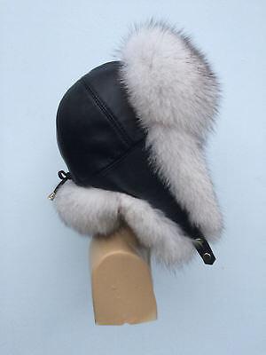 Blue Fox Fur Ushanka Hat Raspberry Pink With Leather Saga Furs Womens PomPoms
