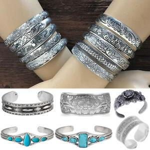 Damen-Herren-Tibetan-Tibet-Silber-Graviert-Armreif-Armband-Armspange-Schmuck