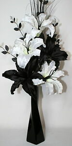 Artificial silk flower arrangement black white lily dragon flowers artificial silk flower arrangement black white lily dragon mightylinksfo