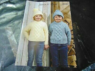 James C Brett Aran Knitting Pattern JB626 Sweater and Hat