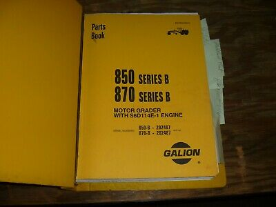 Galion 850B 870B Motor Grader Parts Catalog Manual EBay