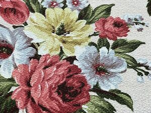 SALE! Beach Cottage Barkcloth Vintage Fabric Drape Curtain PINK ROSES LAST TWO