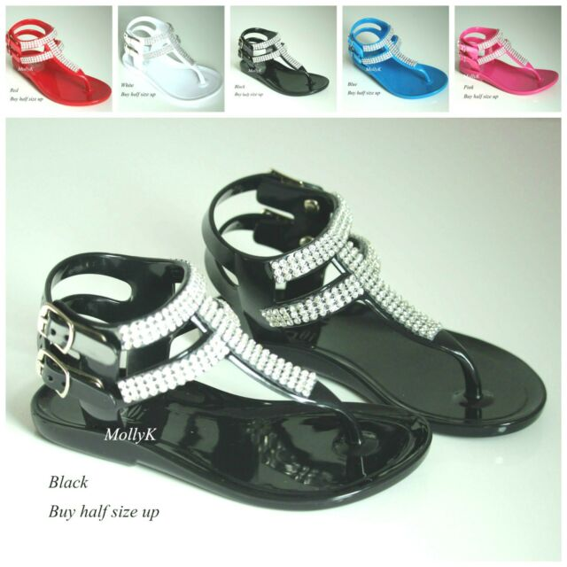 NEW CLR Pageant Girl,Toddler Rhinestone Rubber Flat Strap Dress Sandals Shoes