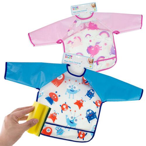 Babero de Bebé Niños limpie Coverall alimentación Delantal Pintura Impermeable Arte Smock
