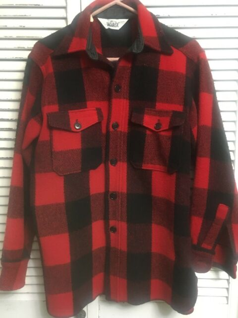 Vintage Woolrich Wool Blend Buffalo Plaid Hunting Shirt USA Men's Medium