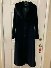 Vintage HARVE/' BENARD Black Wool Women/'s Overcoat wFaux Fur Collar Car Length~ Sz 14