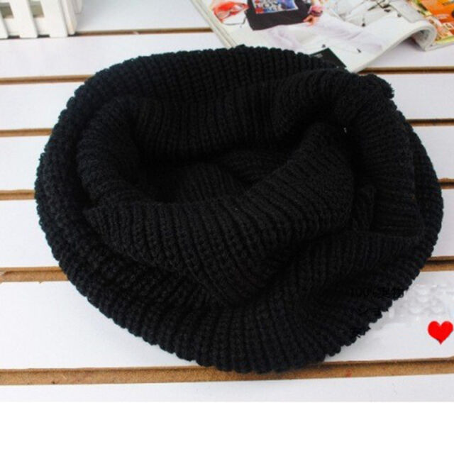 Gilr Women Winter Warm Infinity 2 Circle Cable Knit Cowl Neck Long Scarf Shawl