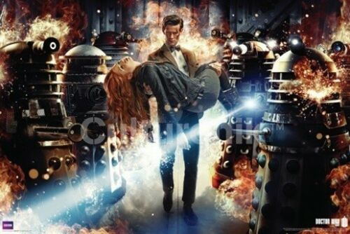 Doctor Who The Doctor, Amy & Daleks Flames 24 x 36 Poster, Matt Smith NEW ROLLED