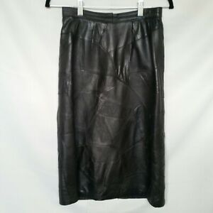 Vintage-80s-Black-Leather-Patch-Work-Midi-Pencil-Skirt-8-XS-High-Waisted