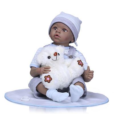 "Biracial 22/"" Reborn Baby Doll African American Boy Girl Look Real Newborn Size"