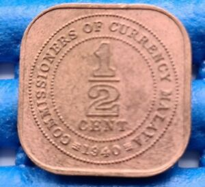 1940 Malaya and British Borneo 1/2 Half Cent Coin King George VI