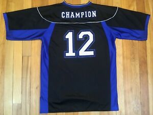 super popular 1bfd5 d7f2f Details about Champion Vintage Reversible Football Black Royal Blue Jersey  #12 Mens Small A+