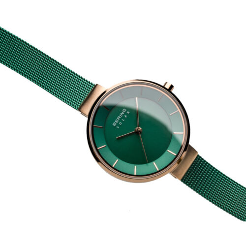 Bering Time Polished Rose Gold Steel and Green Dial Ladies Watch. 14631-Charity