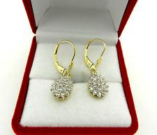 0.50tcw DIAMOND PEAR Shape  DANGLE DROP Earrings 14K Yellow Gold Leverback