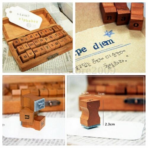 30pcs Number Alphabet Letter Wood Rubber Stamp Multi-purpose Set Wooden Box