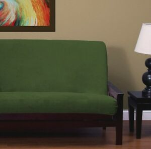Image Is Loading New Solid Hunter Green Chenille Full Size Futon