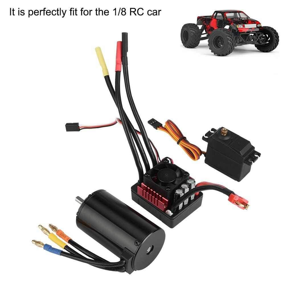 For 1 8RC Car surpass 4068 2050KV Brushless Motor w 120A ESC 9kg Servo Combo Set