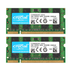 2x-Crucial-2GB-2RX8-PC2-5300S-DDR2-667MHz-200pin-SO-DIMM-RAM-Laptop-Memory-10H
