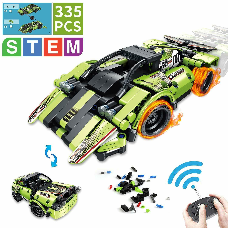 Kits de tallo aokesi Juguetes de construcción para niños coche de Cochereras de control remoto con 2 en 1 PU