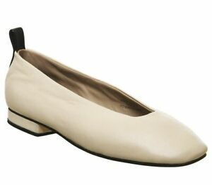 Womens-Office-Fixture-Square-Toe-Ballerina-Pumps-Off-White-Leather-Flats