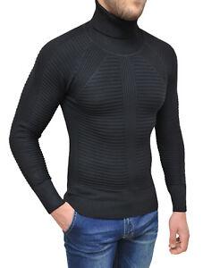 Maglione-Dolcevita-uomo-Diamond-invernale-nero-slim-fit-pullover-a-collo-alto