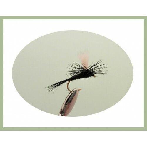 8 Pack Black Gnat Parachute Trout Flies Mixed 12//14//16 Trout or Grayling Flies
