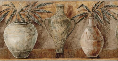 Vintage Flowers Pottery Vases Wallpaper Border Ethnic Vase Home Decor Kitchen
