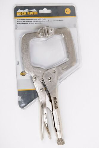 """CertiFlat 2161713 11/"""" Nickel Plated C-Clamps Locking Pliers w// Pads Pivoting Jaw"""