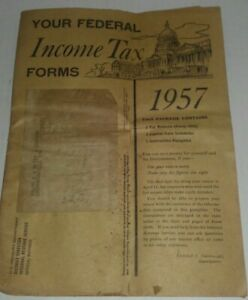RARE* 1957 Federal Income Tax Forms, BLANK, w/Instructions - Indiana, Form 1040   eBay