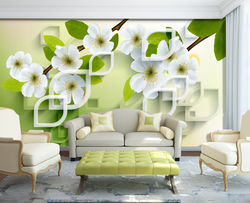 3D White Flower Plants 2709 Wall Paper Wall Print Decal Wall AJ WALLPAPER CA