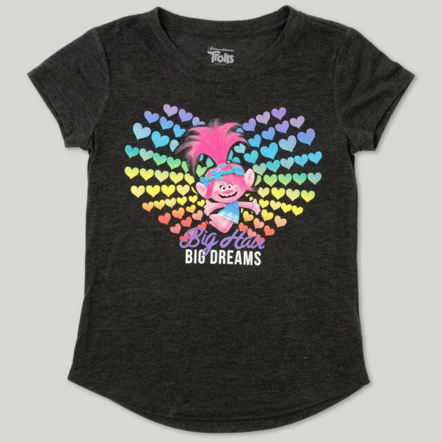 faacf30ec9c DREAMWORKS TROLLS RAINBOW HEARTS GIRL'S Short Sleeve T-Shirt SIZE M ...