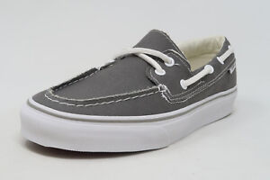 f6a5b5ef98b569 VANS Zapato del Barco Pewter White Canvas Slip On Sneakers Waffle ...