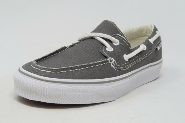 a83c3d3adc05 VANS Zapato del Barco Pewter White Canvas Slip On Sneakers Waffle Sole Men  Shoes