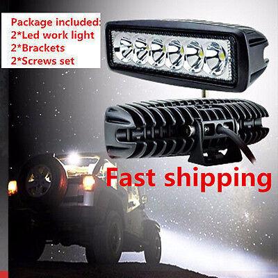 "2x 18W 6"" Spot Cree Led Light Work Bar Boat Car Truck Lamp SUV UTE ATV offroad"