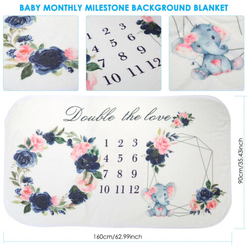 Newborn Baby Twins Milestone Blanket Mat Photography Prop Monthly Growth Gifts