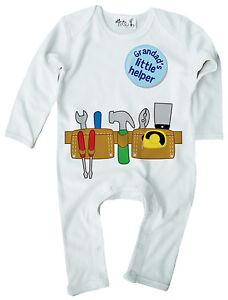 Dirty Fingers Baby Boy Romper Suit Builder DIY Tool Belt Grandad's Little Helper