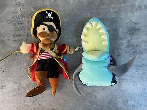 Children's Hand Puppet Toy Pirate Play Peg Leg Long John Silver and Shark