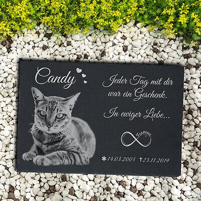 TIERGRABSTEIN Grabstein Gedenkstein Katzen Katze-009 ► Fotogravur ◄ 40 x 25 cm