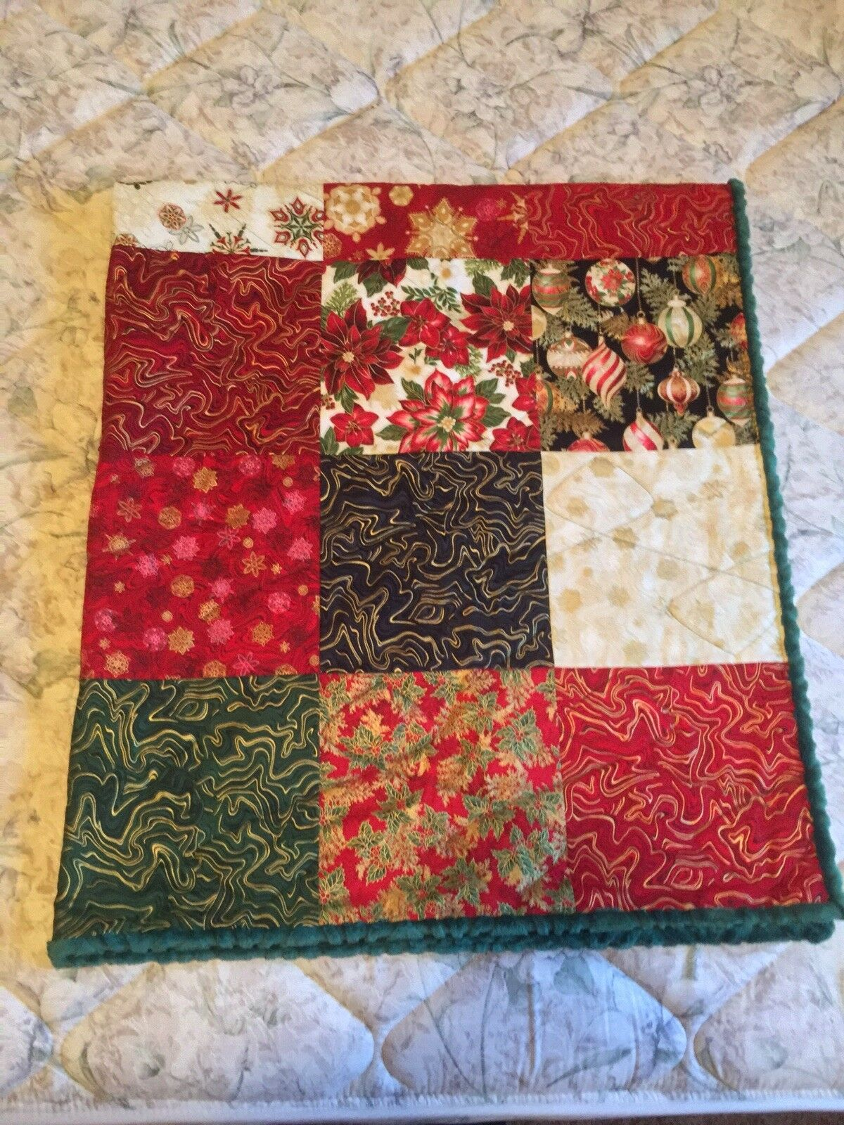 Christmas Patchwork Quilt Minky Full Queen