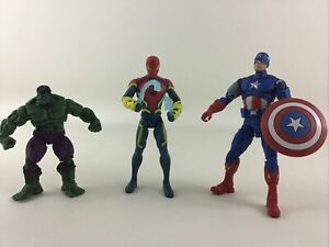 "Hasbro Marvel Avengers 6"" Action Figure 3pc Lot Hulk Spiderman Captain America"