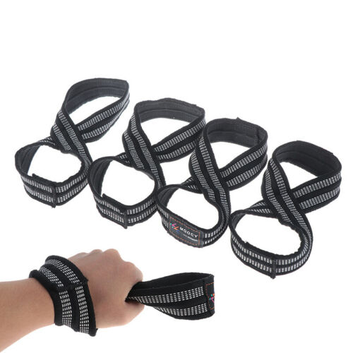 1Pair Figure 8 Straps for Deadlift Weight Lifting Shrugs Heavy Duty Grip Band IJ