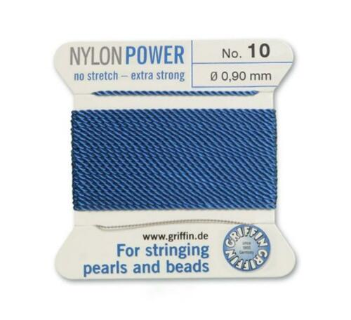 BLUE NYLON POWER SILKY STRING THREAD 0.90mm STRINGING PEARLS /& BEADS GRIFFIN 10