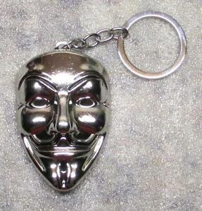 ANONYMOUS Guy MASK V for Vendetta Silver Color Metal KEY CHAIN Ring ... d7bc929374c0