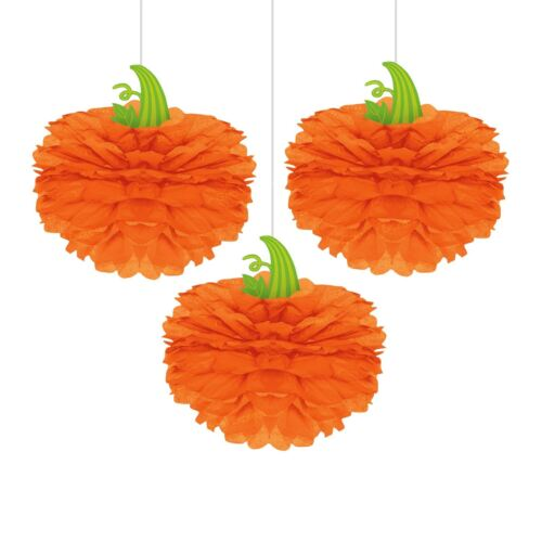 3 Haunted Halloween 3D Fluffy Large Paper Pumpkins Fan Hanging Party Decorations